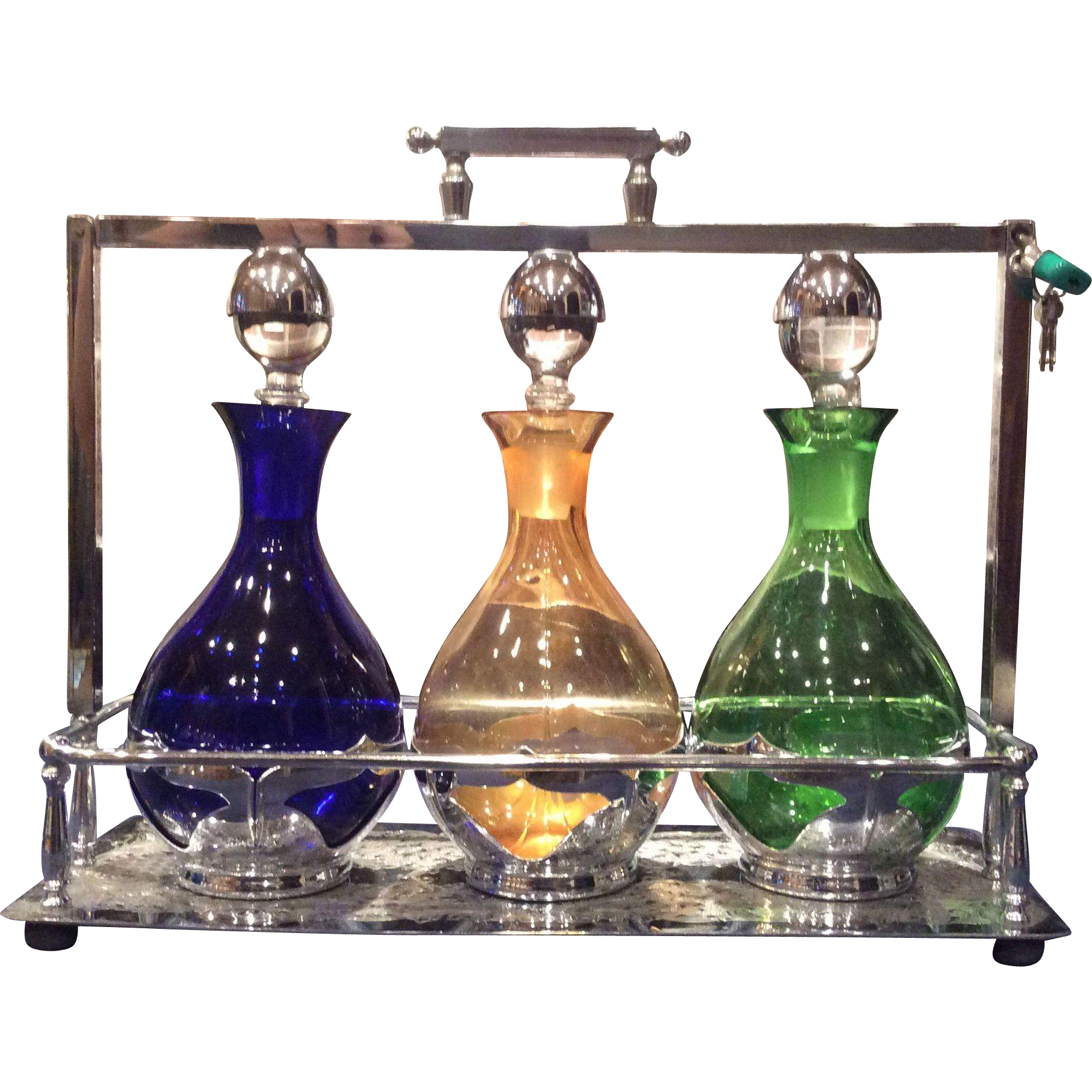 Farber Brothers Krome Kraft #5555 Tantalus Decanter Barware Set
