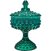 Fenton Green Opalescent Hobnail #3887-GO Footed Covered Candy