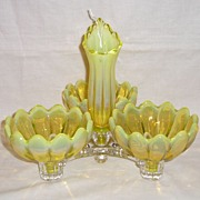 Fostoria Yellow Opalescent Heirloom Table Charm Set