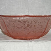 Fenton Rose Satin Ming etched # 750 octagonal bowl