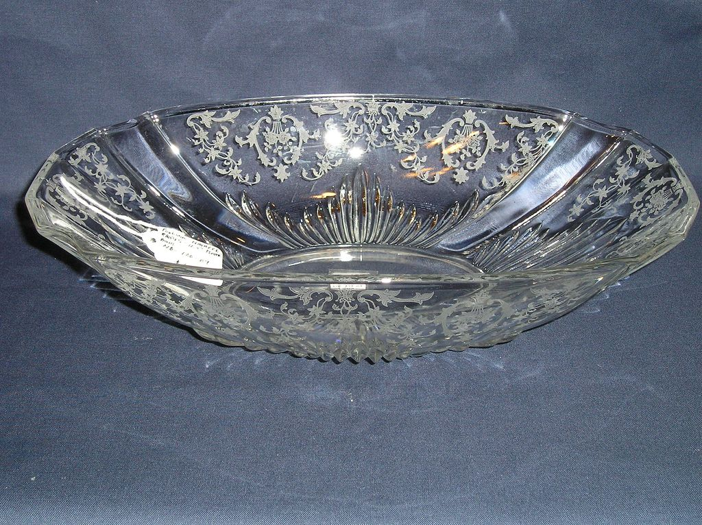 Fostoria Glass Navarre Etch # 327 Flame Oblong Bowl