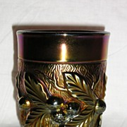 Northwood Glass Amethyst Carnival Acorn Burrs Tumbler