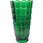 "Cambridge Emerald Green Cascade #573 Cylindrical 9.5"" Straight Sided Vase"