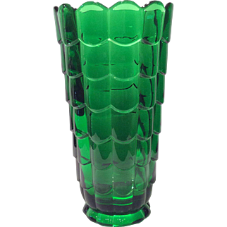 "Cambridge Emerald Green Cascade #573 Cylindrical 9.5"" Straight Sided Vase"