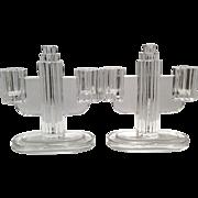 """Heisey Crystal Ridgeleigh 6.5"""" Pair of 2-lite Candleholders"""