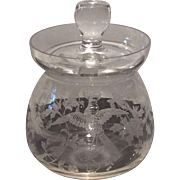 Fostoria Blown (2-piece) Crystal Marmalade with No. 250 Oriental Etch