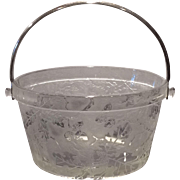 Fostoria Crystal Oak Leaf Brocaded Whip Cream Pail