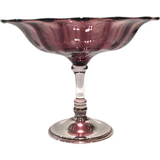 Hawkes Sterling Footed Amethyst Floral Cut Compote with Crystal Stem