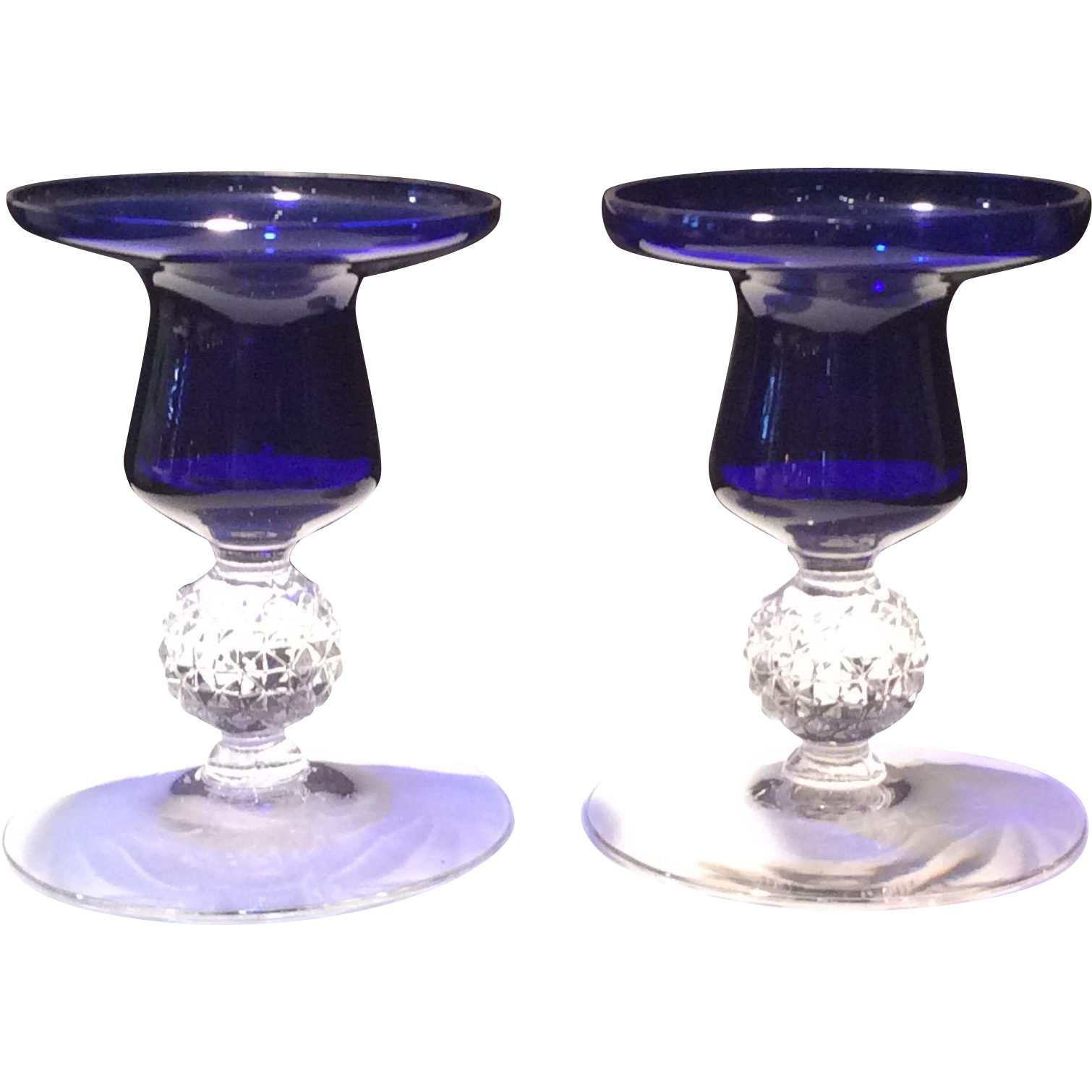 "Morgantown #7643 Ritz Blue (Cobalt) Jacobi 4"" Candleholders (Two)"