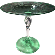 Steuben Glass Twist Stem Crystal & Green Compote