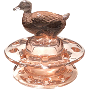 Heisey 2-Piece Flamingo Glass Duck Floral Block