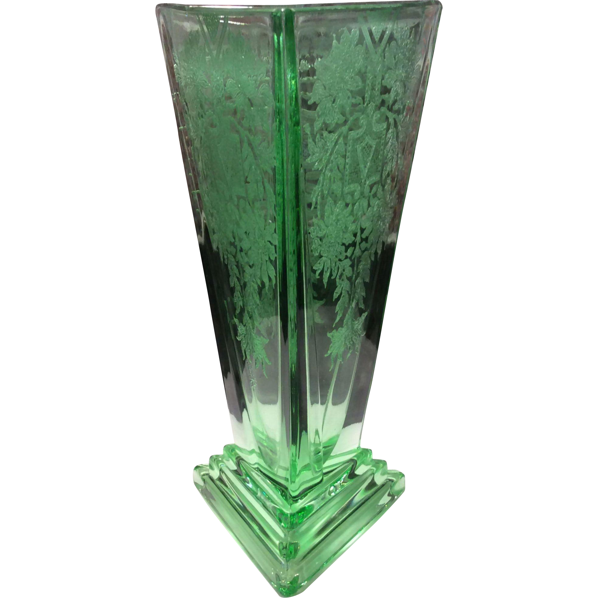 New Martinsville Green No. 33 Modernistic Etched Vase