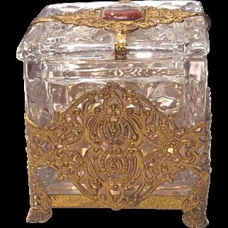 "Fostoria American Crystal 3"" Square Puff Box in Ormolu"