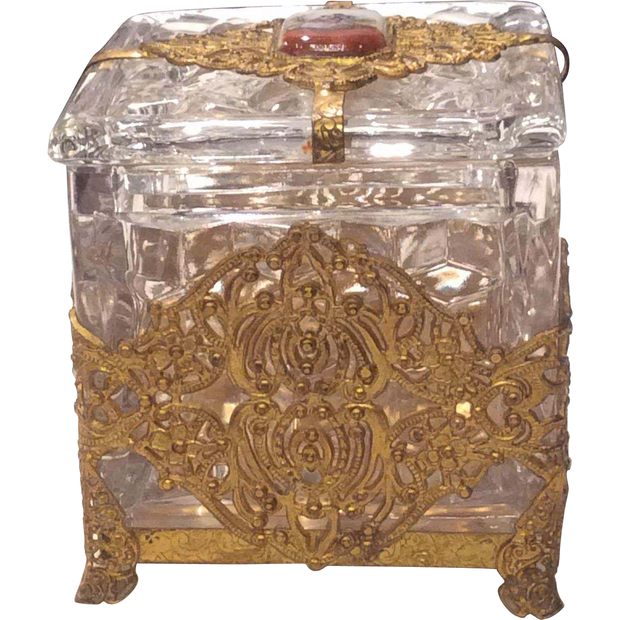 "Fostoria American Crystal 3"" Square Puff Box in Ormolu"