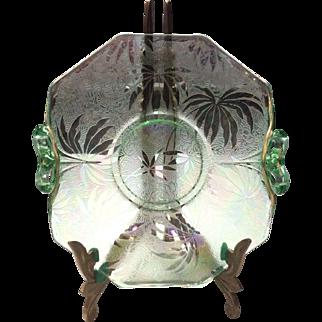 "Fostoria Green Palm Leaf Brocade #73 - 7"" Handled Lemon"