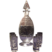 Fostoria Crystal Shooting Stars #735 Decanter & 6 Whiskeys