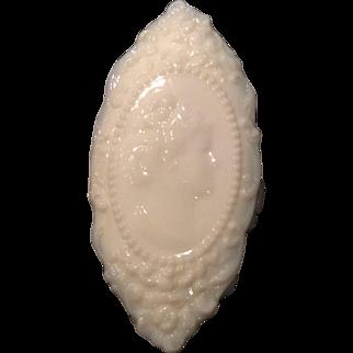 """Fostoria White Milk Glass """"Jenny Lind"""" 6"""" Oval Covered Jewel Box"""
