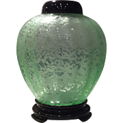 Fenton Green Ming (Pattern) Ginger Jar with Lid & Base
