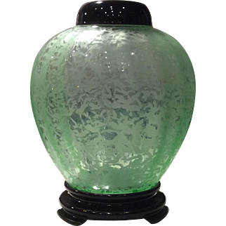 Fenton Green Ming (Pattern) Ginger Jar with Lid & Base