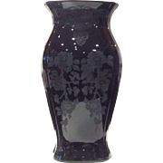 "Cambridge 11-5/8"" Ebony #3400/17 Vase with Apple Blossom #744 Etch"