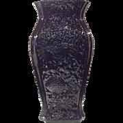 "Cambridge 12"" Ebony Vase Embossed with Springtime Decoration"