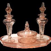 "Tiffin (U.S. Glass) Factory ""R"" Pink Flower Garden with Butterflies 4-Piece Cologne/Perfume Powder Set"