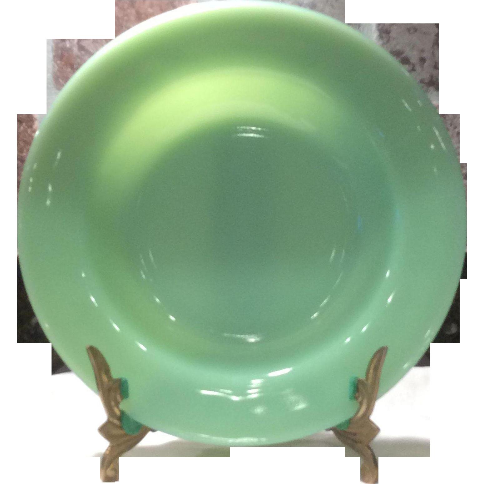 "Fire King/Anchor Hocking Jadeite (Jadite) 9"" Flat Rim Restaurant Ware Soup Bowl"