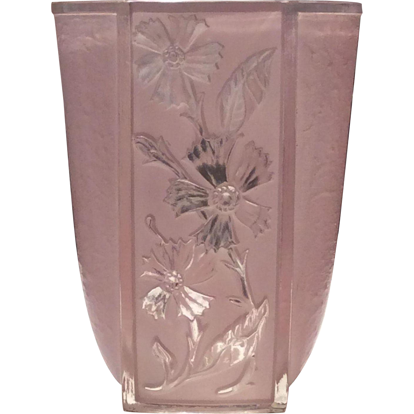 Phoenix Consolidated Pale Pink Ceramic Coated Glass Bachelor Button Vase