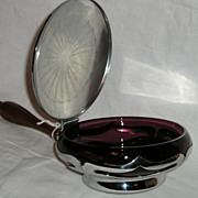 Farber Brothers Krome Kraft Silent Butler with Amethyst Cambridge Insert