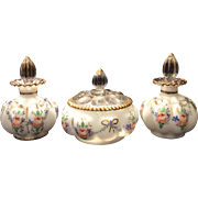 Fenton Charleton Decorated Mould #192A Silver Crest 3 Piece Vanity Set with Beth Weissman Roses & Bows