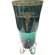 Tiffin Killarney Green Melrose Etched with Gold Overlay on a modern #17430 Crystal Footed Teardrop Vase