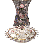 "Heisey Crystal Lariat Pattern #1540 - 8"" Hurricane Shade & Base with Charleton Roses Decoration"