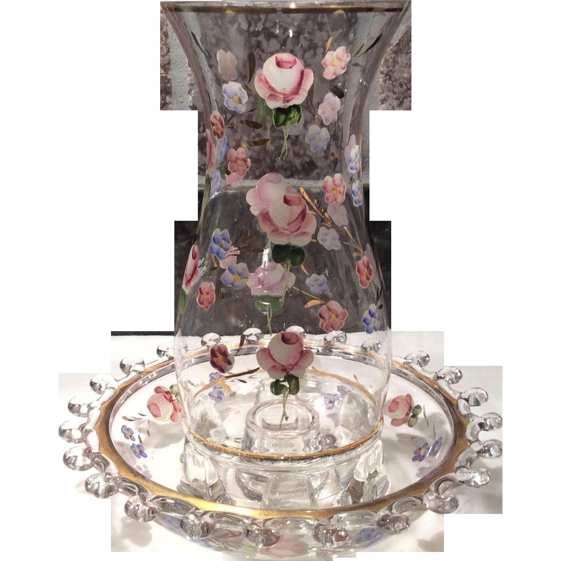 "Heisey Crystal Lariat Pattern #1540 - 8"" Hurricane Shade & Base with Charleton Roses Decoration"