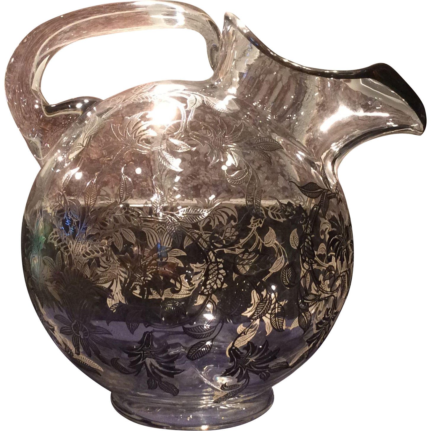 Cambridge Crystal Ball Pitcher with Sterling Floral Overlay