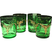 Heisey Emerald Green with Gold Trim Winged Scroll 8 Ounce Tumbler