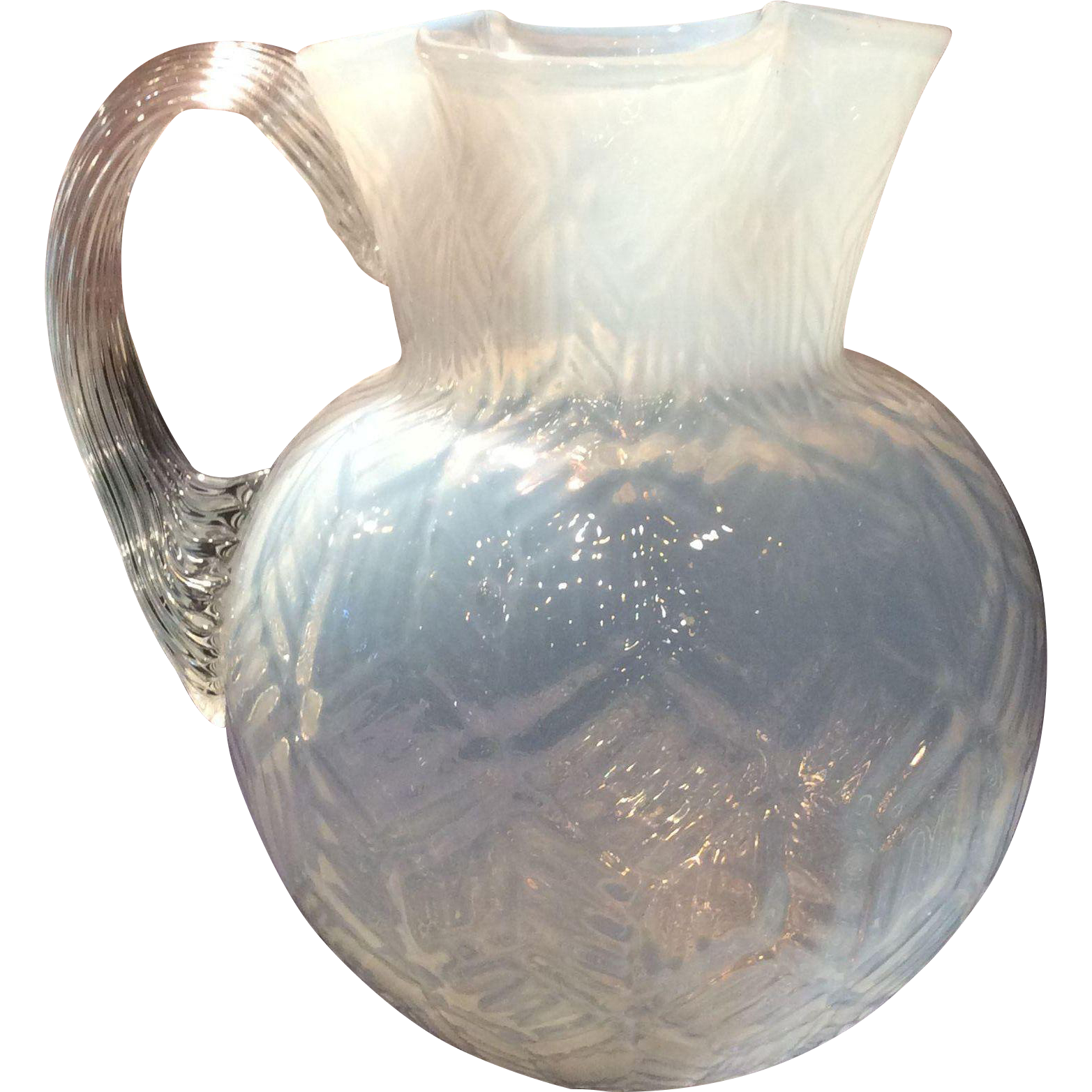 Opalescent Jug with Honeycomb Optic
