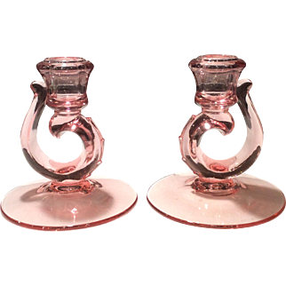 Fostoria Pair of Pink Century Line #2630 Single Candlesticks