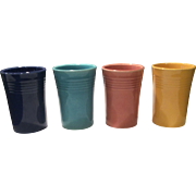 Fiesta Set of 4 Vintage Juice Tumblers - Cobalt, Rose, Turquoise & Yellow
