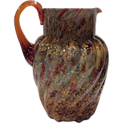 "Possibly Hobbs Brockunier - Indian Red (Red-Amber) cased over White Opal Interior ""Spangled Glass"" Pitcher with Gold Mica"
