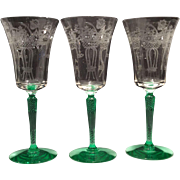 Morgantown #7654 Lorna 9 Ounce Goblet with Venetian Green Stem & Foot, Crystal Bowl and Nantucket Etch