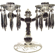Imperial Crystal #400/680 Pair of Twin Candlewick Candelabra with Cutting, Bobeche & Prism Inserts