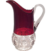 U.S. Glass Ruby Stained Kings Crown (Ruby Thumbprint) Milk Pitcher