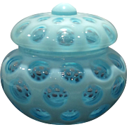 Fenton Blue Opalescent Coin Dot No. 91 Covered Candy