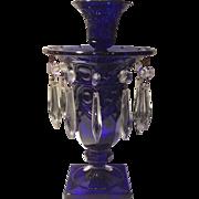 Heisey No. 1405 Stiegel Blue (cobalt) Ipswich Candelabra (footed centerpiece vase & candleholder)