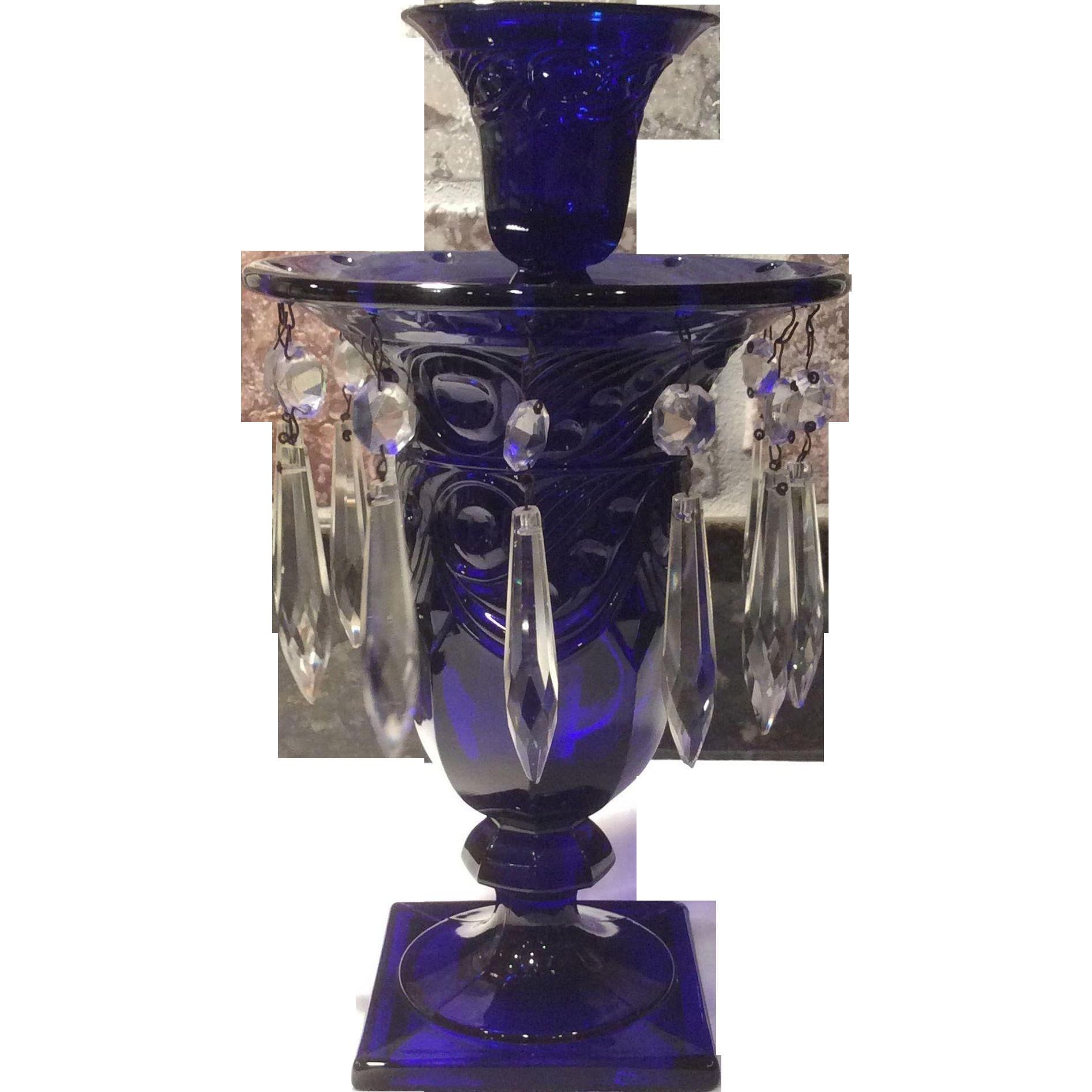Heisey No 1405 Stiegel Blue Cobalt Ipswich Candelabra