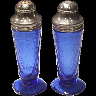 Hazel Atlas Cobalt Blue Royal Lace Salt & Pepper Shakers (2)