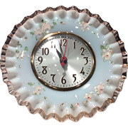 Fenton Rose Crest Mould #680 Clock with Charleton Roses