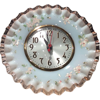 Fenton Rose Crest Mould #680 Clock with Charleton Roses