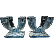 Fostoria Azure Blue No. 2546 Quadrangle Candlesticks (2)