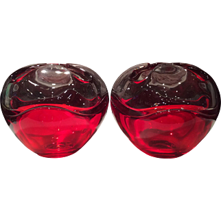 Tiffin Empress Modern No. 6606 Pair of Rose Bowls in Ruby Red & Crystal